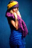 Woman in wool scarfs — Stock Photo