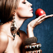 Woman and apple — Stock Photo