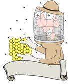 Beekeeper and scroll — Stock Photo