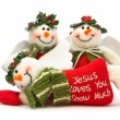 Three Christmas Snowman Decorations - Stock Photo