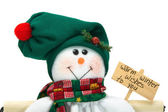 Smiling Christmas Snowman Decoration Close-up — Stock Photo