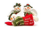 Three Christmas Snowman Decorations — Stock Photo