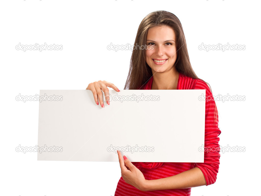 A young beautiful girl with the paper in hand  Stock Photo #7589642