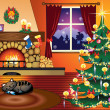 Royalty-Free Stock Vector Image: Living room at Christmas Time