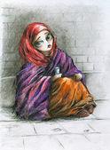 Poor girl — Stock Photo