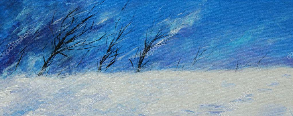 手绘树木冬季景观在刮风