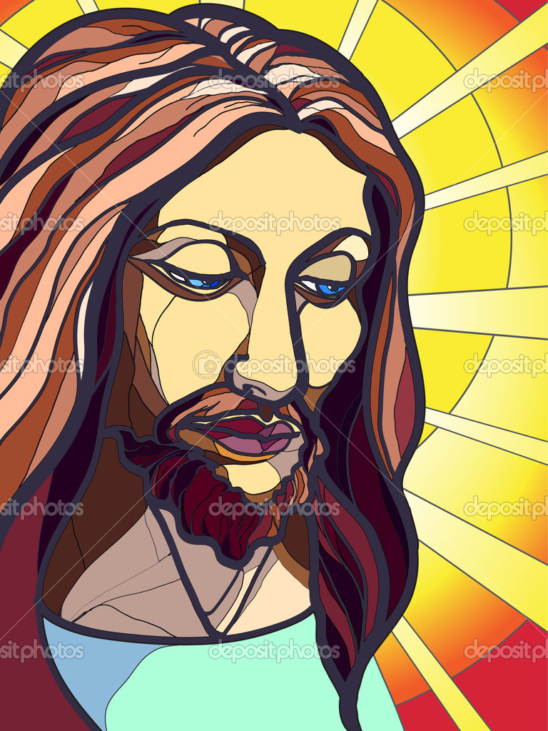Vector illustration of Jesus Christ in stained glass.  Stock Vector #7627411