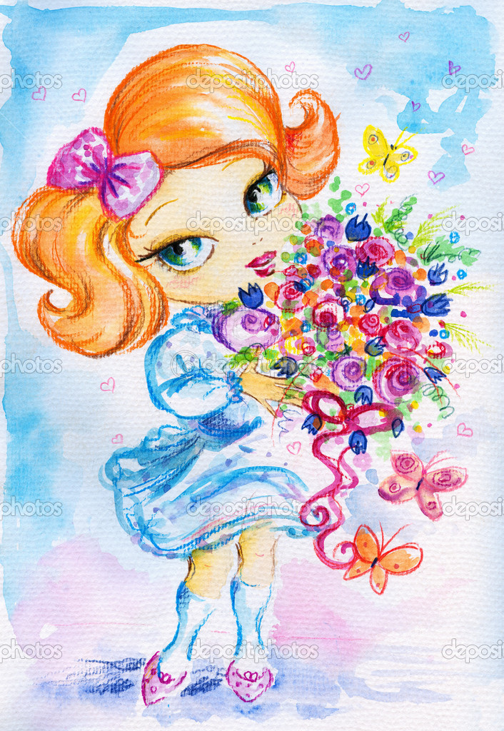 Sweet girl with a flowers.Picture I have created with watercolors.  — Stock Photo #7693753