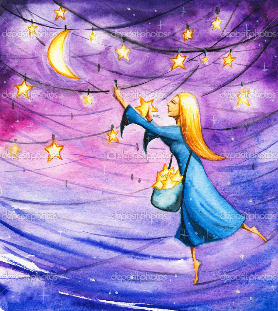 Night hanging stars on a sky.Picture I have created with watercolors — Stock Photo #7719505