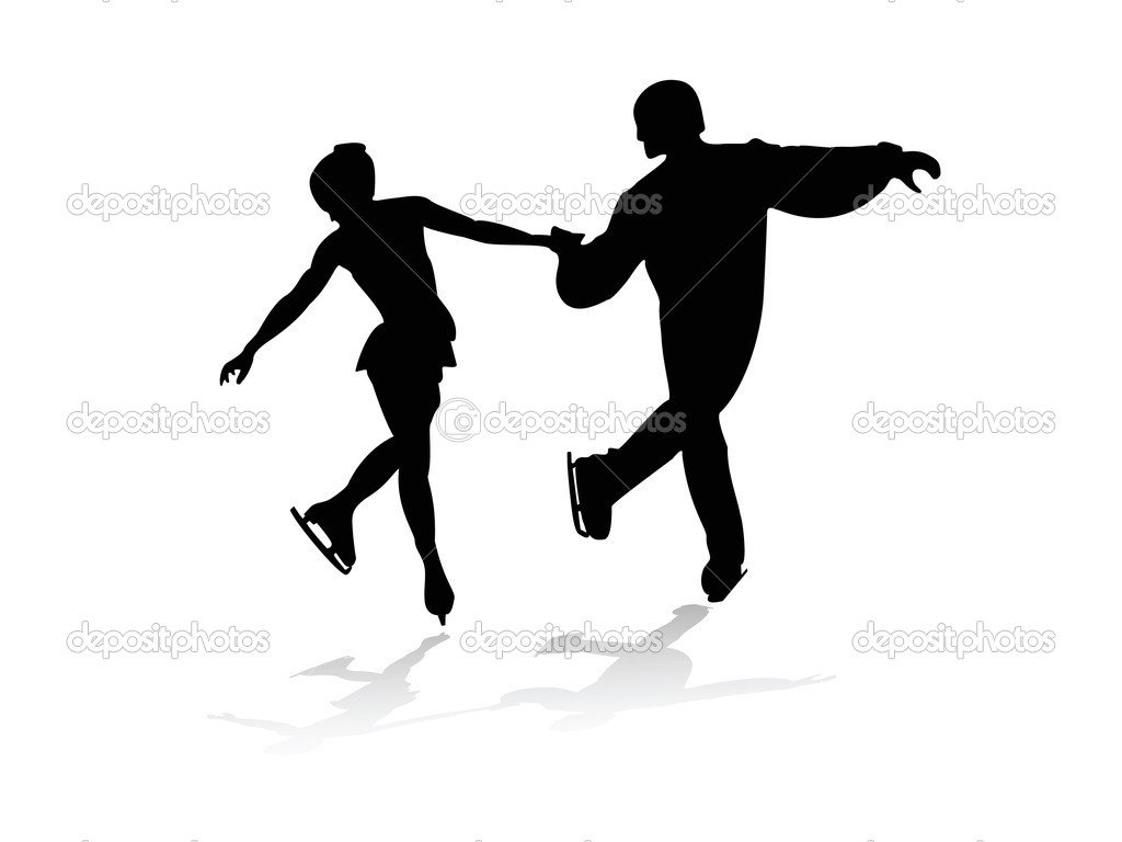Silhouettes of men and women skating — Stock Vector #7588598