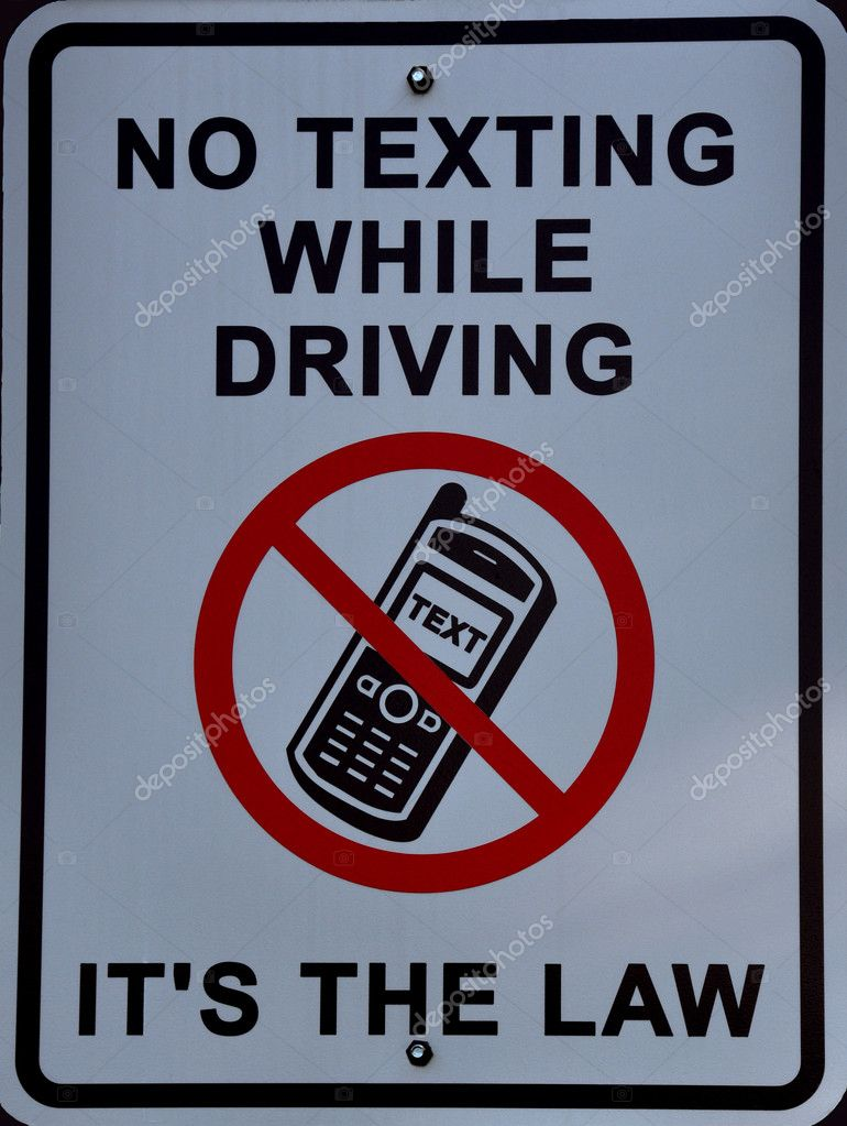 No Texting While Driving Its The Law Sign Stock Photo