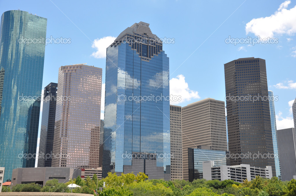 Houston Texas skyline with a bright blue sky — Stock Photo #7465297