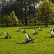 Deck chairs in a park — Foto Stock