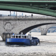 Police boat on the river Seine, Paris — Foto Stock
