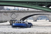 Police boat on the river Seine, Paris — Stock Photo