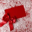 Christmas red background with white snowflake border — Stock Photo #7636010