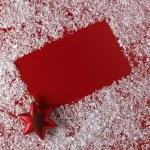 Christmas red background with white snowflake border — Stock Photo