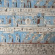 Egyptian hieroglyphic paintings on a temple wall — 图库照片