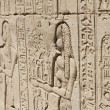 Hieroglypic carvings on an egyptian temple — 图库照片