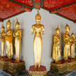 Many of the golden Buddha statue stand — Stock Photo #6942173