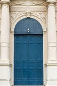 Old blue wood door Installed — Stock Photo