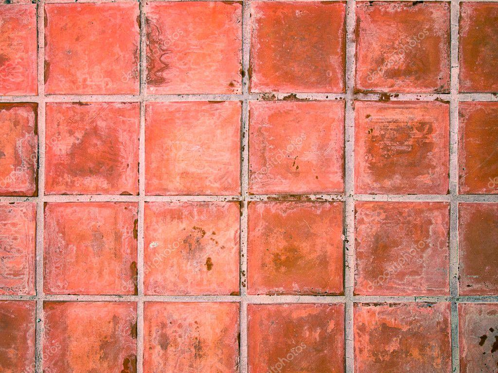Red ceramic floor tiles