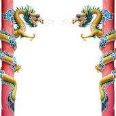 Twin Chinese Dragon Wrapped around red pole on White — Photo