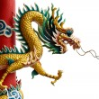 Golden Chinese Dragon Wrapped around red pole - Zdjęcie stockowe