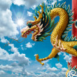 Golden Chinese Dragon and bright sky - Zdjęcie stockowe