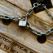 Silver key chain lock on the wood — Stock Photo