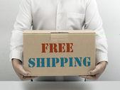 Caixa de papel marrom frete grátis — Foto Stock