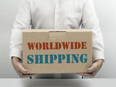 Worldwide Shipping brown paper box — Stock Photo