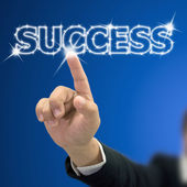 Index press on bright success word — Stock Photo