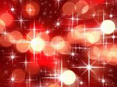 Bright star and red tone bokeh for Christmas background — Stock Photo
