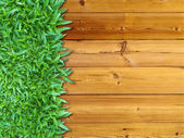 Left Green Grass on Wood — Stock Photo