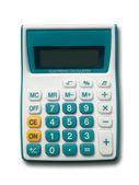фронт зеленый калькулятор на белом фоне — Стоковое фото