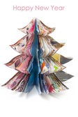 Handmade Christmas tree cut out from fasion magazine — Stock Photo