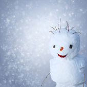 Funny Snowman with carot and sticks under snowy background — 图库照片