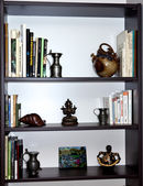 Bibelots et des livres de bibliothèque — Photo