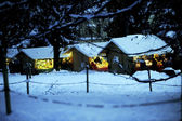 Houses with lighted — Stok fotoğraf