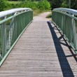 Stock Photo: White wooden bridge in park