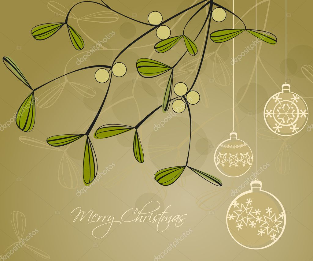 Green background on Merry Christmas with decorations — Stock Vector #7027059