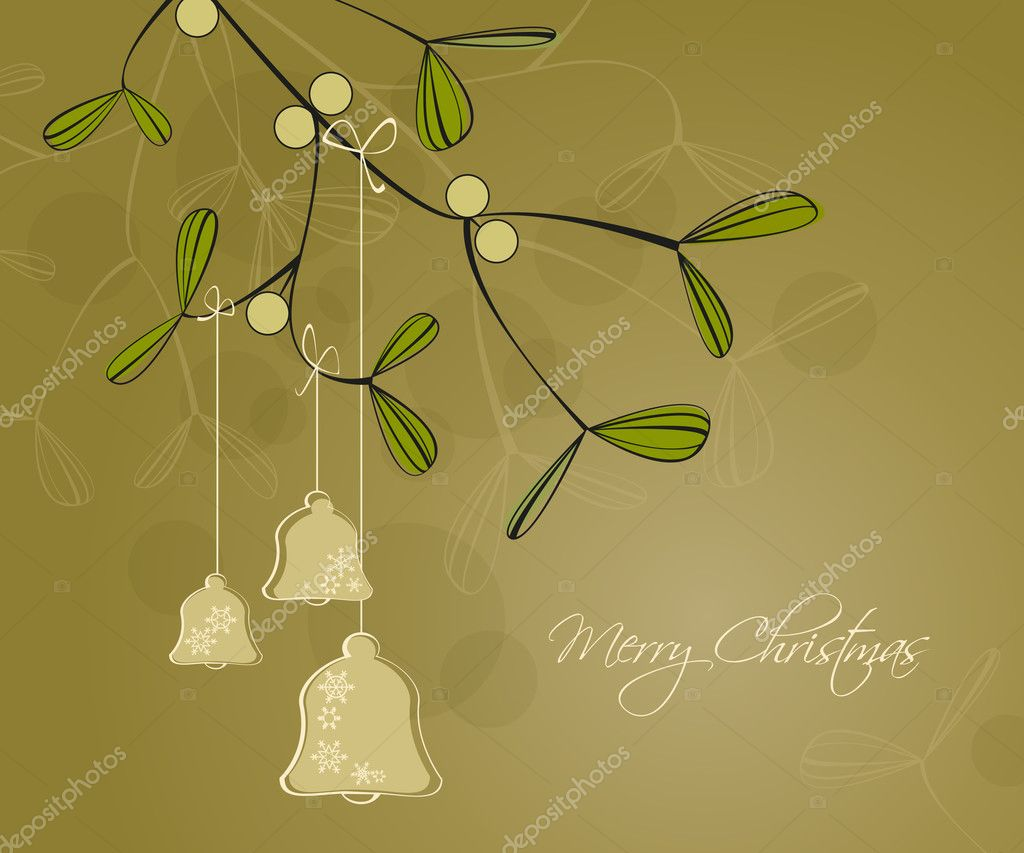 Green background on Merry Christmas with decorations — Stock Vector #7027071