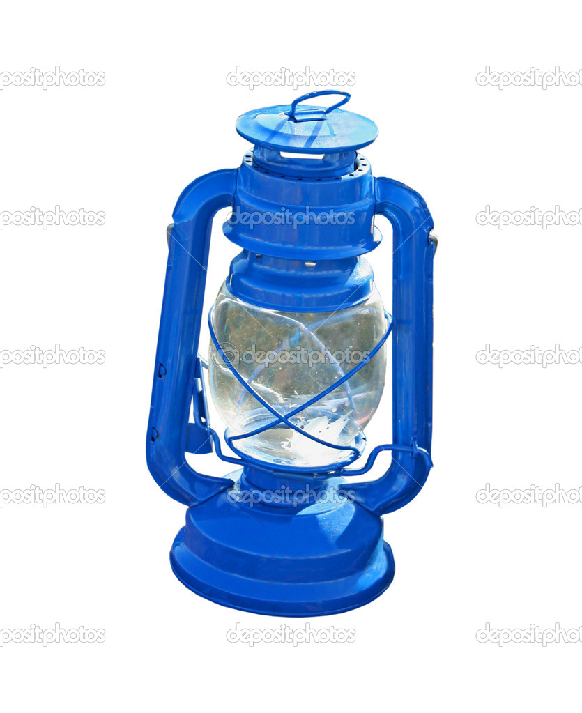 An Oil Fueled Blue Metal Hurricane Lamp. — Stock Photo #7697688
