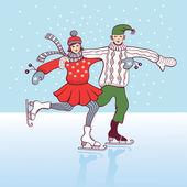 Ice skating — Vetor de Stock