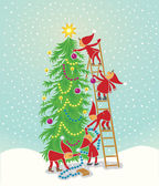 Cchristmas tree with elfs — Stock Vector