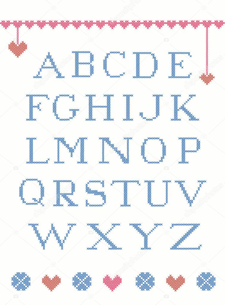 Cross stitch alphabet with design elements suitable for christmas  Stock Vector #7265324