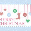 Stock Vector: Christmas cross stitch