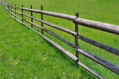 Fence on green meadow — Stock Photo