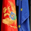 Montenegrin and European flag — Stock Photo